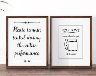 Funny Bathroom Art Set, Funny Bathroom Prints, Please Remain Seated, Toilet  Sign,