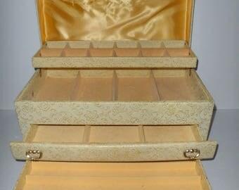 Vintage Three Drawer Lift Top Buxton Tabletop Jewelry Box