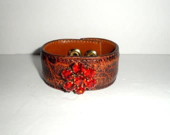 Upcycled / Recycled Leather and Rhinestone Cuff Bracelet