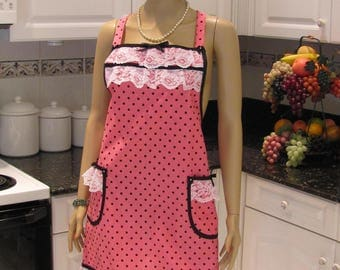 ELEGENT DESIGNER APRON: Full Apron, Hot pink, Polka Dot, with black bias tape accents and white lace ruffles