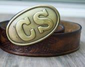 Vintage CS belt buckle & Leather Tooled Belt .Confederate States buckle.. Handmade .