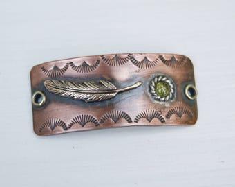 Copper Artisan Finding . Bracelet . Supply . Brass . Feather Peridot Stone . Handmade Finding Supply