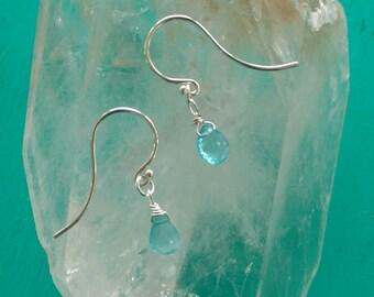 APATITE Briolette Drop Earrings with Sterling Silver, Light Blue Dangle Earrings with Silver Ear Wires (#055)