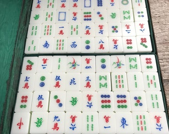 Vintage Tricolor Tiles Mah Jong Game
