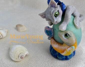 Cat & Koi Fish Sculpture-Ornament, Pepper and Sushi, Gray Kitty Fishing, Whimsical Art, Blue Orange, Summer Art, Beach Decor, Under the Sea