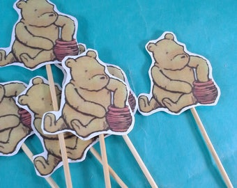 Pooh cupcake toppers, classic pooh birthday, shower toppers H035, cupcakes