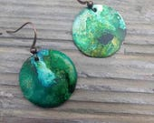 Color Flow Collection: Copper circle earrings with alcohol ink//green and blue earrings//copper earrings//copper//ladies//dangle earrings