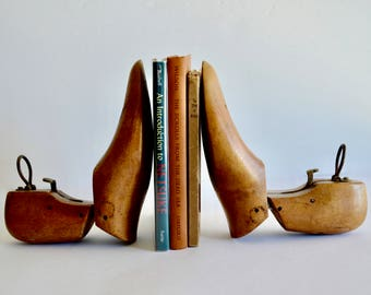 Vintage Wooden Miller Shoe Forms Set of Two Shoe Tree Bookends Wooden Home Decor