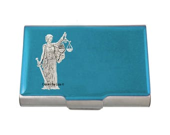 Libra Large Business Card Case Hand Painted Turquoise Opaque Glossy Enamel Zodiac Inspired with Personalized and Color Options