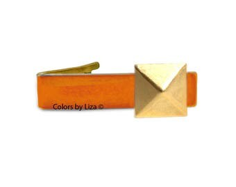 Geometric Pyramid Tie Clip Antique Gold Inlaid in Hand Painted Orange Enamel with Cufflinks Set and Color Option