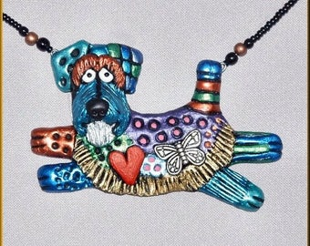 Hand Sculpted Schnauzer Necklace with Natural Ears by Kristy Zgoda