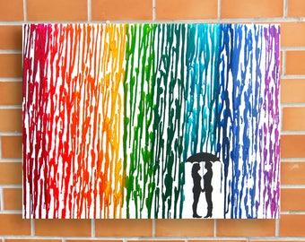Lesbian Wedding Gift, RTS Lesbian Art, Rainbow Raindrops Melted Crayon Art Wax Painting, Lesbian Girlfriend Gift, Ready to ship 16x20