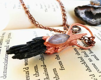 Witches Broomstick Necklace, Witchy Jewelry, Rose Quartz Witch Necklace, Black Kyanite Necklace, Black Kyanite Fan, Copper Jewelry Handmade