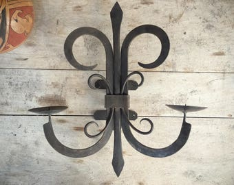 Vintage Mexican rustic candle sconce, wall mounted wrought iron candle holder