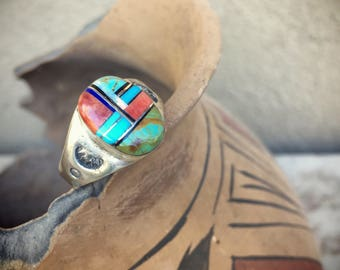 Turquoise Ring Multi Stone Channel Inlay Men's Size 12, Native American Indian Jewelry