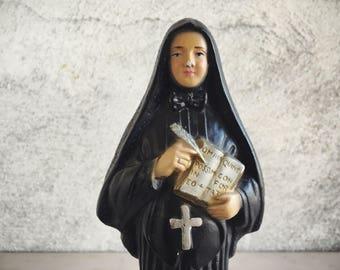 Chalkware Figurine St. Francis Xavier Cabrini, Mother Cabrini, Patron Saint of Immigrants