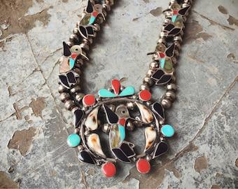 Zuni Inlay Multi Stone Squash Blossom Necklace Hummingbird Coral Turquoise Native American