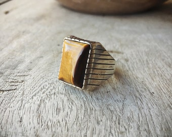 Men's Ring Size 11 Sterling Silver Tiger Eye Jewelry, Native American Ring, Tiger's Eye Ring, Men's Jewelry, Gift for Men, Gift for Dad