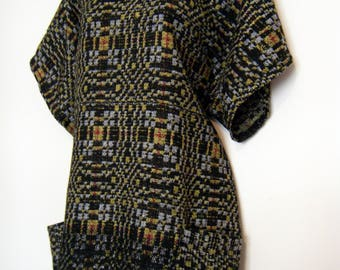 WOVEN 1960s FRINGE Indian Tunic blouse, Mini Dress with Pockets, size m - l