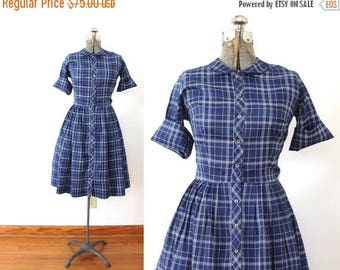 ON SALE 1950s Dress / 50s 60s Plaid Dress / Blue Plaid 50s Shirtwaist Dress