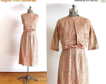 ON SALE 1950s Wiggle Dress / 50s Blush Pink Lace Wiggle Dress and Jacket Set