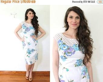 ON SALE 1950s Floral Wiggle Dress / 60s 50s Illusion Neckline Lattice White Floral Garden Party Dress