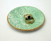 turquoise ring dish high relief shaped trinket dish  / turquoise or mint tones with raised floral design