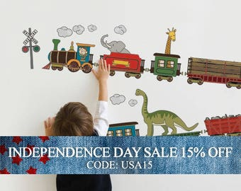 Independence Day Sale - Animal Train - Peel and Stick Wall Sticker