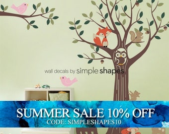 Tree with Forest Friends Decal Set - Kids wall decals Nursery Room Wall Sticker