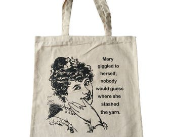 Cotton Tote Project Bag Where Did Mary Hide The Yarn Stash Funny Pun Meme for Crochet Knitting Yarn Shopping
