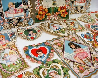 19 Valentine Card Lot Whitney Made Valentine Lot 1920's & 1930's Children's Valentine Lot Large Whitney Valentine