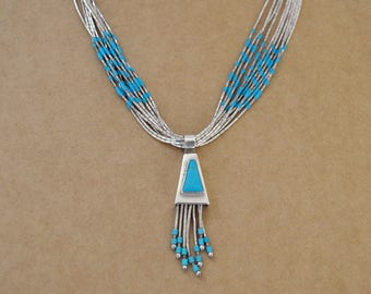 VINTAGE FIND liquid silver chain blue turquoise beaded sterling silver Navajo artisan made necklace with blue turquoise pendant