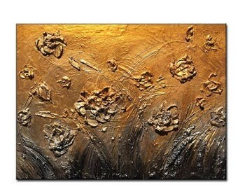 Original Textured palette knife metallic flowers Abstract Painting by Henry Parsinia 24x18