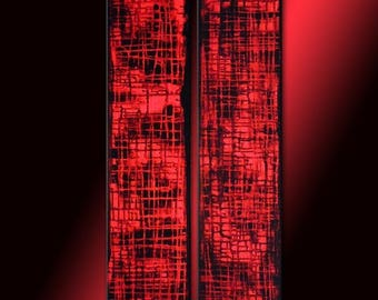 Red Abstract painting, Contemporary Multipanel Fine Art by Henry Parsinia Large 36x18