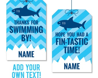 INSTANT DOWNLOAD Shark Party Favor Tags - EDITABLE printable birthday party favor tags