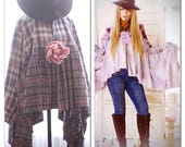 Os boho fall flannel Festival Poncho, Boho Style Urban Outfitters Boho Purple Lace Tunic Poncho, Country Girls,Shabby, True Rebel clothing