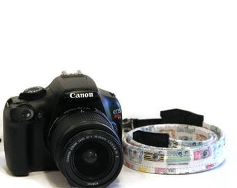 NEOPRENE THIN Camera Strap Vintage watercolor Camera design - Cross-body Length Pick Fabric CANON Nikon