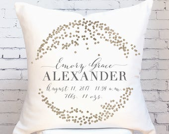 Baby Gift Personalized Baby Gift Baby Shower Gift Gold Dots Baby Statistics Pillow Cover