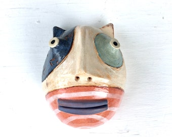 calico cat blue lips clay wall sculpture small halfhead