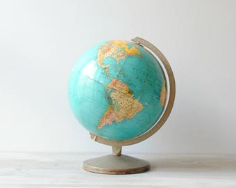Vintage World Globe, 12 Inch Weber Costello Hy-Press Bilt Globe, Mid Century Globe