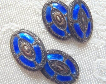 Vintage Cuff Links Blue Guilloche Enamel Sterling Silver