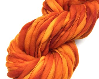 Handspun yarn, spun thick and thin and super bulky in hand dyed merino wool - 47 yards, 3 ounces/ 85 grams
