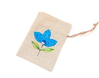 Gift bag, linen pouch, Happy Birthday drawstring gift bag, bracelet bag, appliqued flowers, blue flower, gift for her, jewelry travel pouch