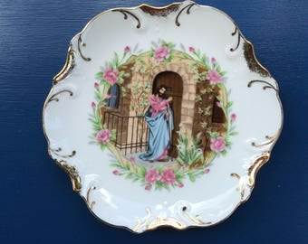 Vintage Religious Plate Features Jesus Knocking at the Door