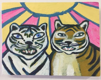 Original Acrylic Painting Of Two Tigers On Wood, titled Tiger Friends by Rochester, NY artist Rina Miriam Drescher