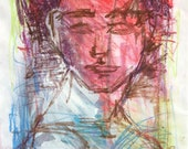 FOR TOD ONLY - Male Abstract Portrait on paper 9 x 12 Original Watercolour Gwen Duda Contemporary Modern Art Red Blue White Green