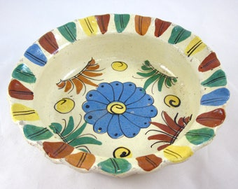 Vintage Tlaquepaque Mexican Pottery Folk Art Bowl, Rustic, Handmade, Handpainted 1930-1940's