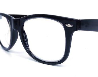 vintage 90s black wayfarer 3.5 reading glasses oversized round plastic frames men women eyewear retro modern eyeglasses readers cheaters
