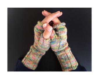 Fingerless Gloves - Hand-Knit Gloves - Women's Fingerless Gloves - Half Gloves  - Pastel Multicolor - Women's Winter Gloves