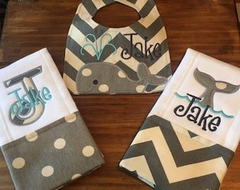 Whale Bib and Burp Cloth Set of 3 - Personalized Chevron Baby Bib Gift Set - Newborn Gift Set - Personalized Bib and Burp Cloth Set